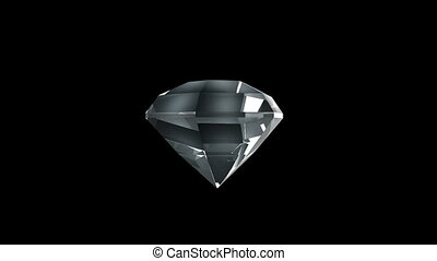 Beautiful diamond cold shade rotates on a black background. looped movement.