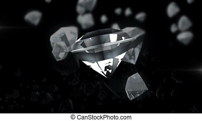 expensive diamond is rotated in the air. Many drops on the...
