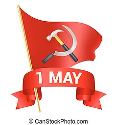 1st may day greeting illustration with red flag, hummer and sickle and a bow with text. Labor day greeting, international worker day celebration template. vector illustration