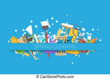 spring cleaning supplies blue background tools of...