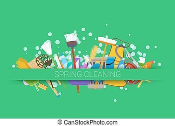 spring cleaning supplies green background tools of...