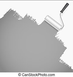 roller brush painting white over grey background vector...