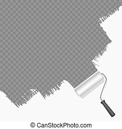 roller brush painting white over transparent background...
