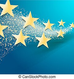 celebration abstract background with golden stars and glittering dust trail on blue background. Twinkling glitter and gold sparkles. vector illustration