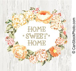 Decorative label with flowers Home Sweet Home