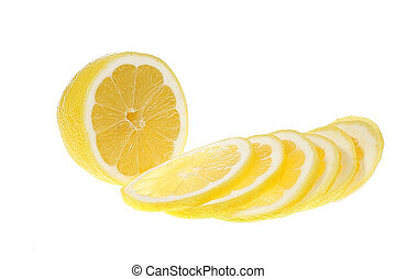 Lemon slices isolated on white background
