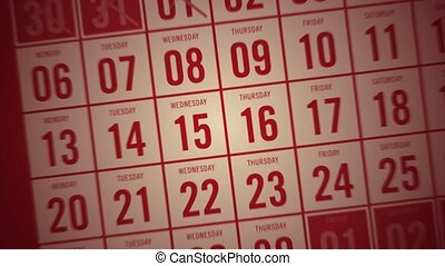 Calendar month showing days being c