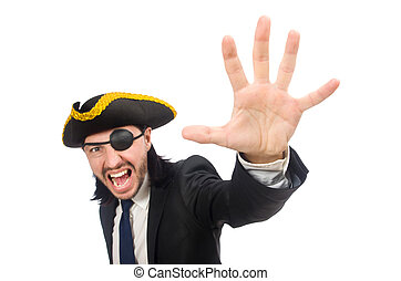 Pirate businessman shouting isolated on white