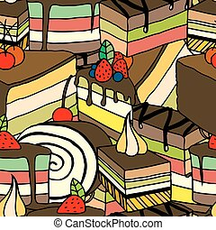 desserts and ice cream - Seamless sweet pattern with...