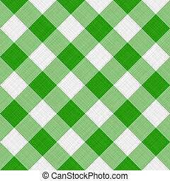 green table cloth - seamless diagonal picnic gingham pattern...
