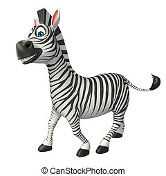 funny Zebra cartoon character - 3d rendered illustration of...