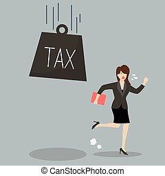 Business woman run away from heavy tax Business finance...
