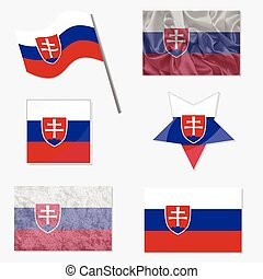 Set with Flags of Slovakia - Flags of Slovakia Made in...