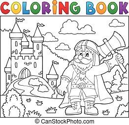 Coloring book dwarf warrior theme