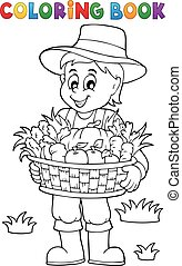 Coloring book farmer with harvest