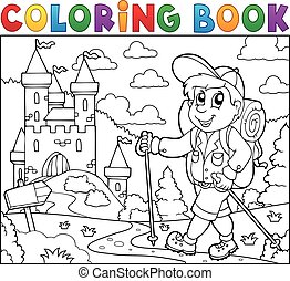 Coloring book hiker near castle