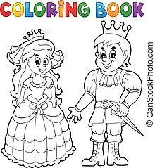 Coloring book princess and prince