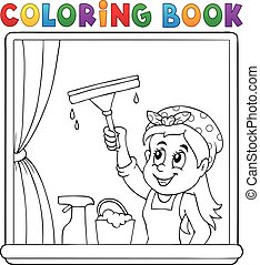 Coloring book woman cleaning window