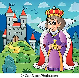 Happy queen near castle theme