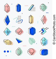 Set of space objects crystals with geometric shapes.