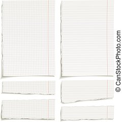 squared and lined paper sheets - Set of blank squared and...