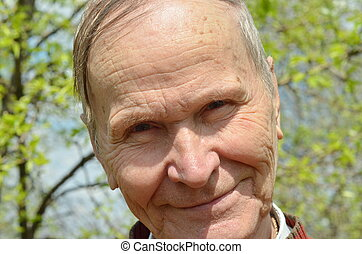 closeup senior man portrait - happy man closeup portrait...