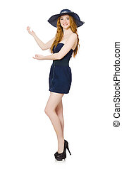 Red hair girl in black strapless dress isolated on white