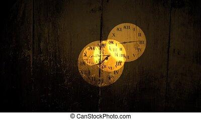 grungy, klocka, vettar, visande, övergående