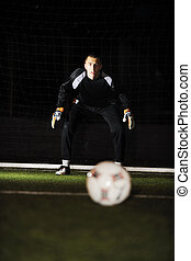soccer goal keeper - soccer football goal keeper in night...