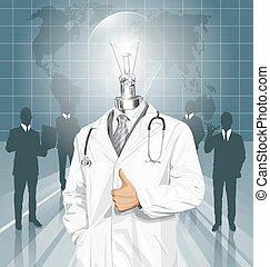 Vector Doctor With Stethoscope - Vector doctor man with...