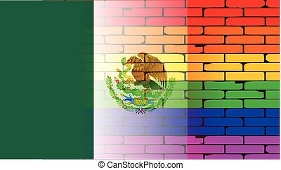 Rainbow Wall Mexican Flag - A well worn wall painted with a...