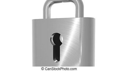 Metal padlock opened with key - Loopable 3D animated...