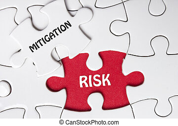 Risk Mitigation. Missing jigsaw puzzle pieces with text. -...
