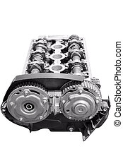 Car engine camshaft isolated in white