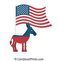 Donkey Democrat Symbol of political party in America...