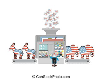 Factory elections in America. Uncle Sam says Democrats and Republicans. Voices of voters. Accounting machine. Operator of  machine Uncle Sam. Political factory USA. Elephants and donkeys