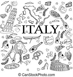 Italy line art design vector illustration - Italy coloring...