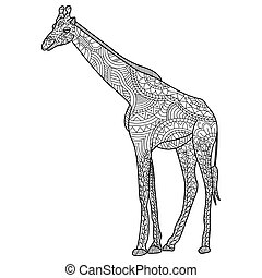 Giraffe Coloring vector for adults - Giraffe coloring book...