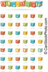 Alphabet on a baby cubes vector. Easy to change colors and rotate blocks.