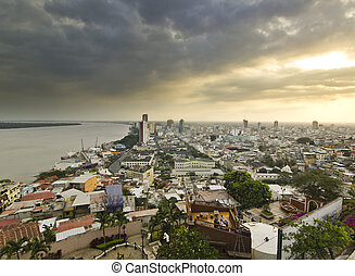view on Guayaquil city from hill at sunset - view on ecuador...