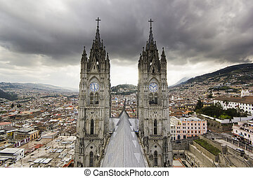 view from top of cathedral in Quito, Ecuador