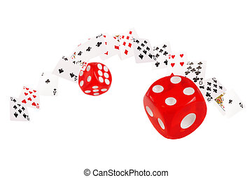 Playing cards and dice flying on white background
