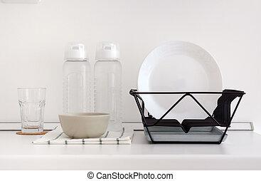 Utensil on white top counter in kitchen - Utensil on white...