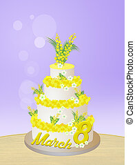 mimosa cake for Women's day - illustration of mimosa cake...