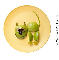 placa, hecho, manzana, amarillo, gato