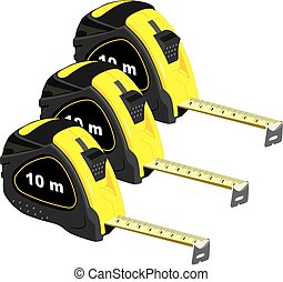 Steel Measure - Yellow centimeter measure rolled steel with...