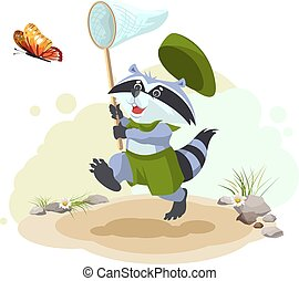 Scout raccoon butterfly catches