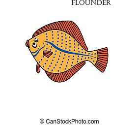 Flounder cartoon vector illustration Flounder fishes on...