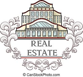 Real estate company logo template. - Vector illustration...