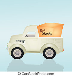 free shipping truck - illustration of free shipping truck